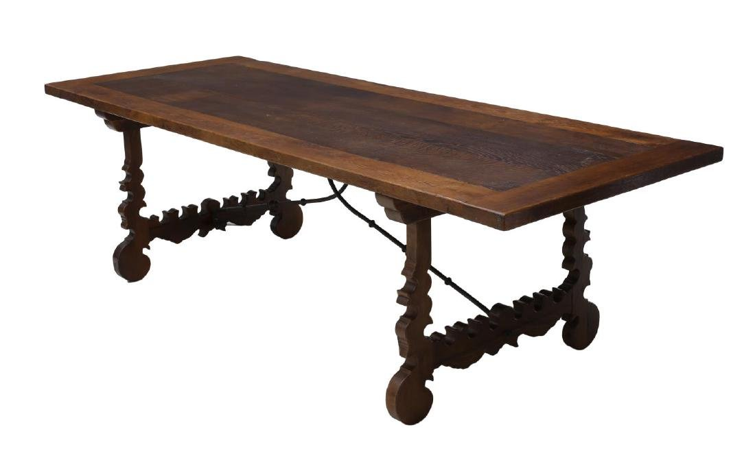 SPANISH BAROQUE STYLE TRESTLE REFECTORY TABLE