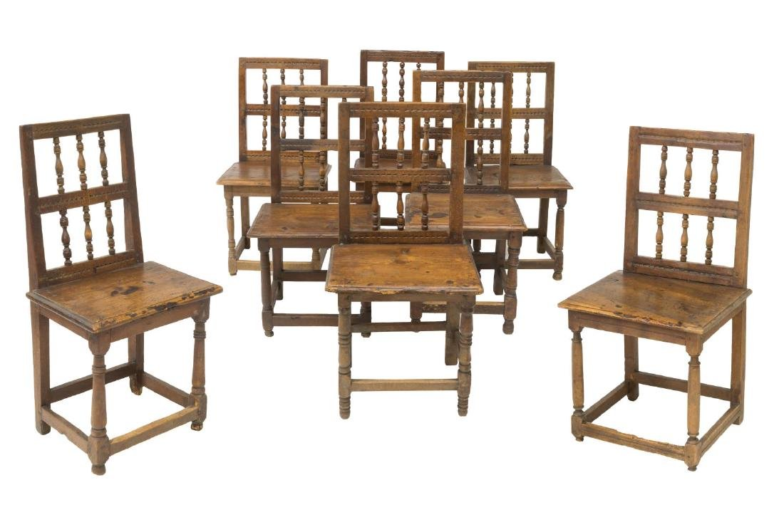 (8) RUSTIC SPANISH SPINDLED BACK SIDE CHAIRS