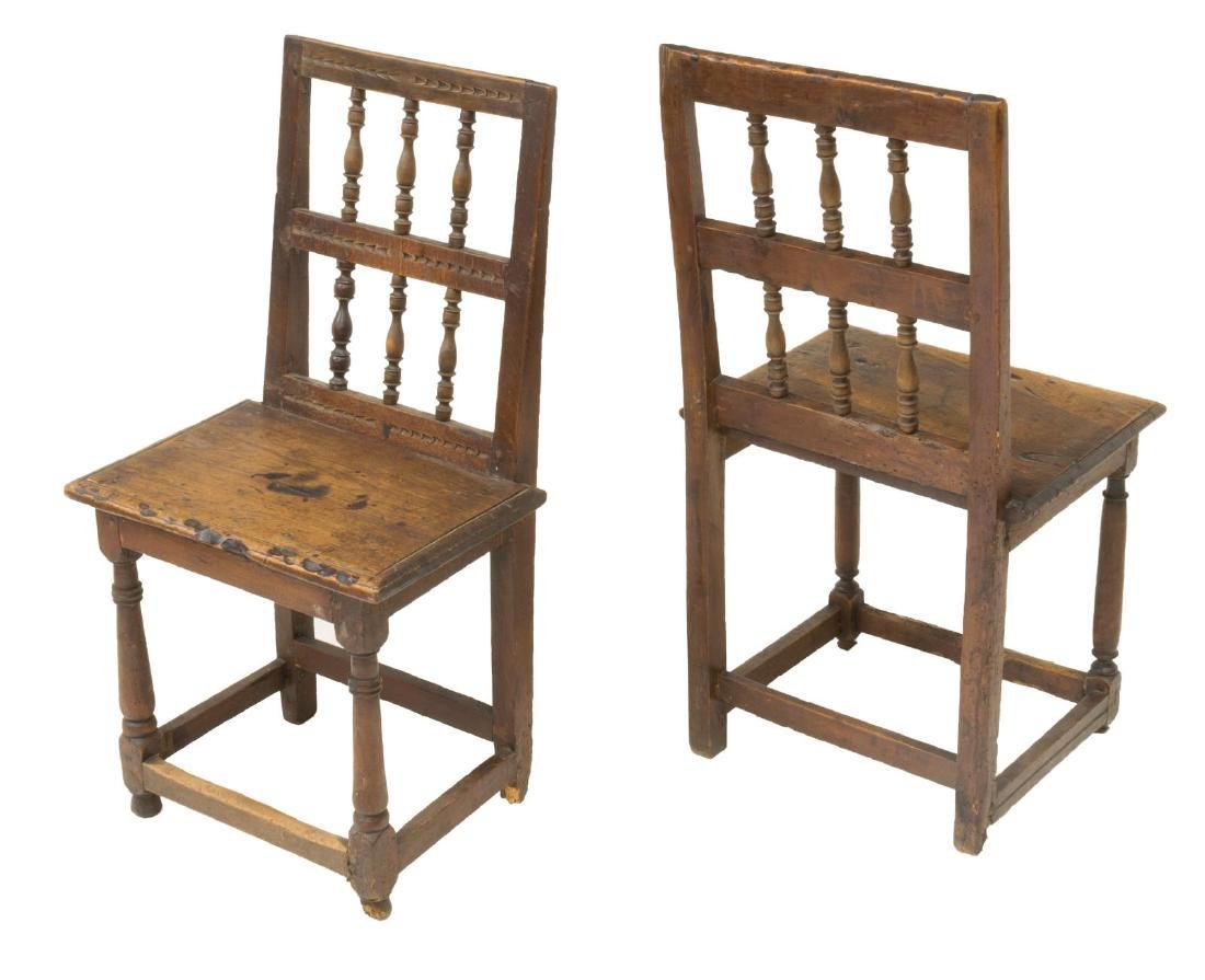 (8) RUSTIC SPANISH SPINDLED BACK SIDE CHAIRS - 2
