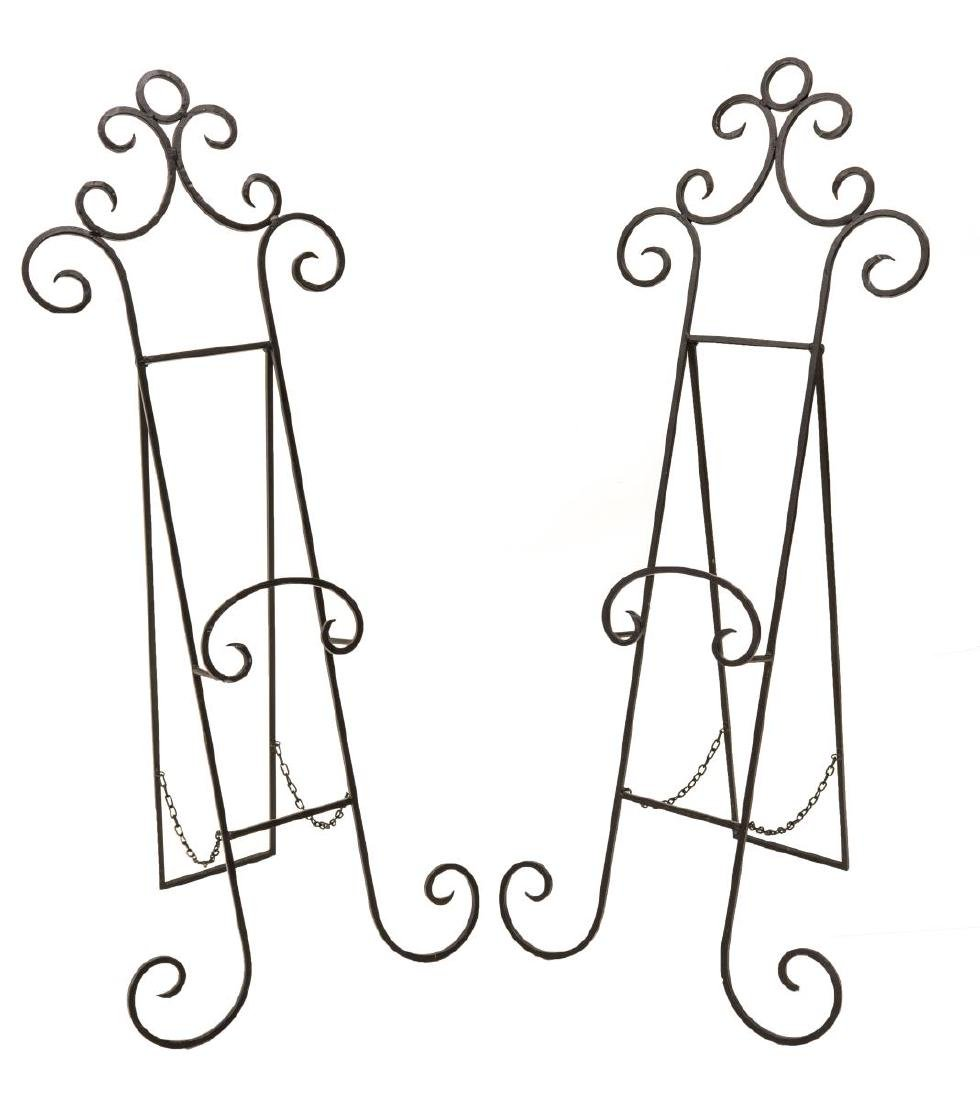 (PAIR) SCROLLED WROUGHT IRON EASEL STANDS