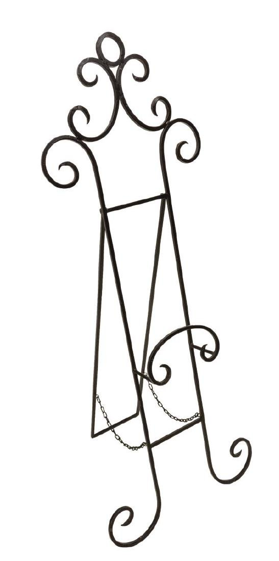 (PAIR) SCROLLED WROUGHT IRON EASEL STANDS - 2