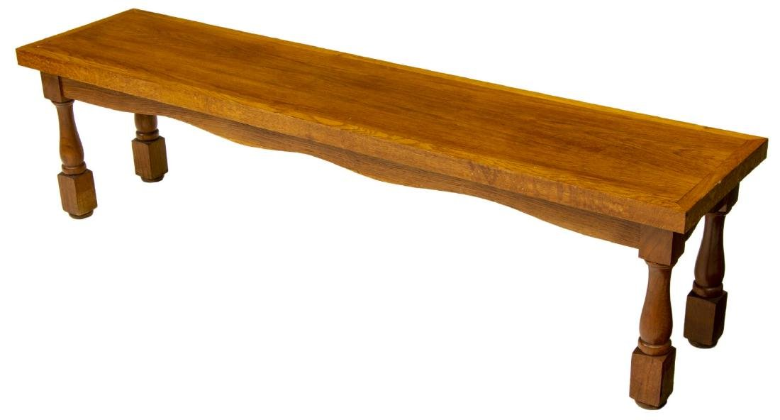 RUSTIC CARVED TEAKWOOD LONG BENCH