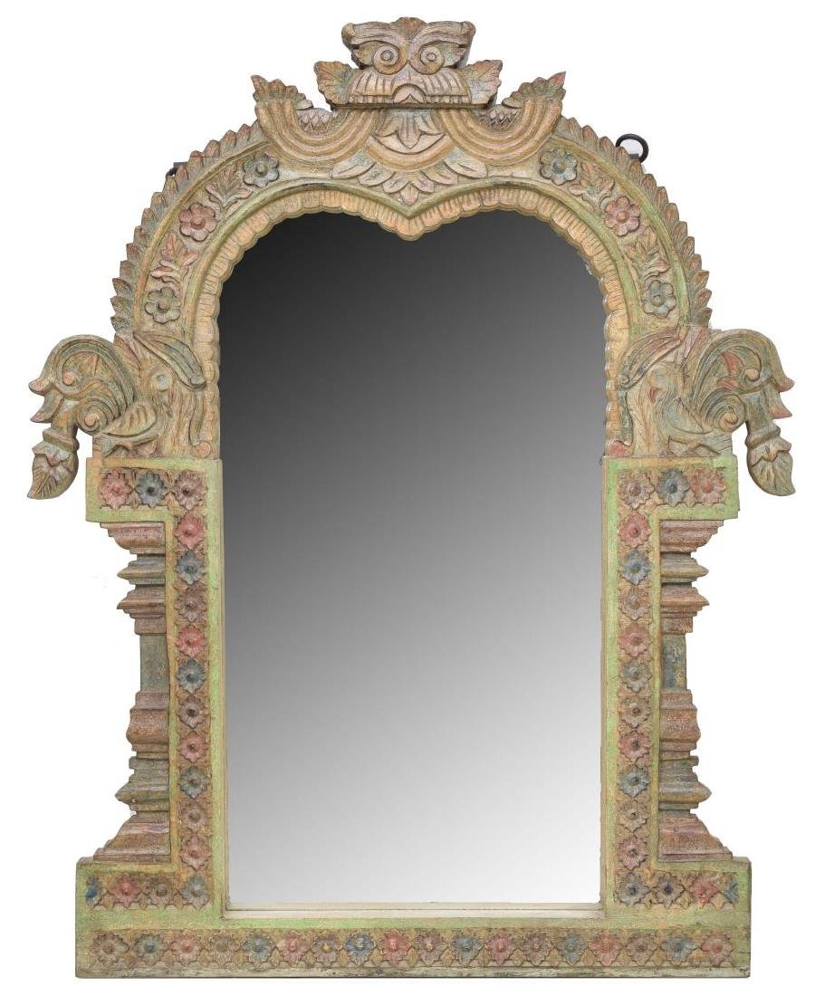 ARCHITECTURAL HEAVILY CARVED TEAKWOOD WALL MIRROR