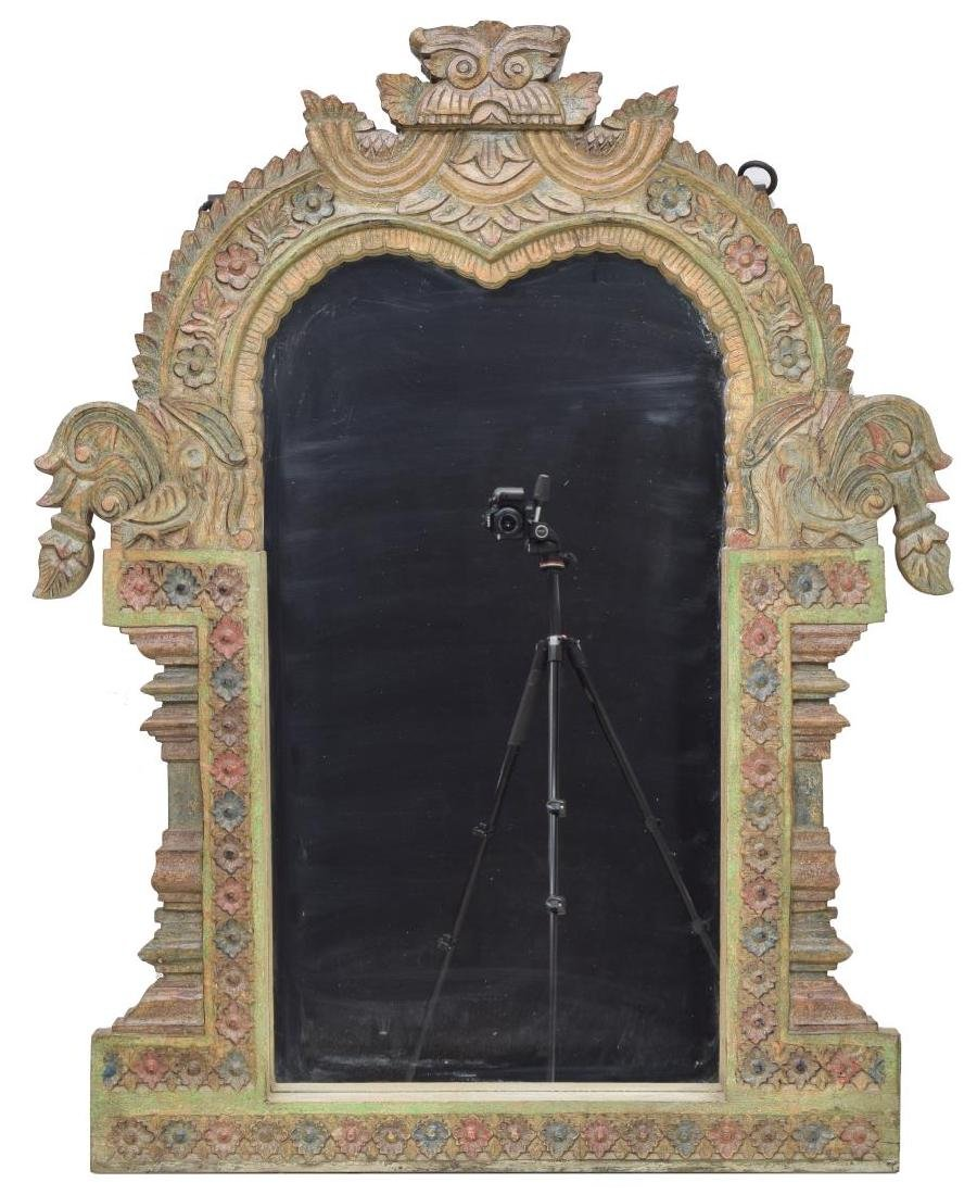 ARCHITECTURAL HEAVILY CARVED TEAKWOOD WALL MIRROR - 2