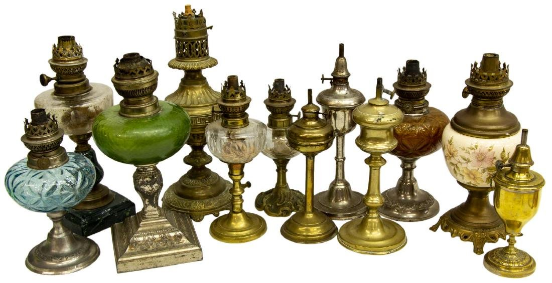 (12) COLLECTION OF ASSORTED ANTIQUE OIL LAMPS