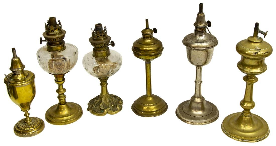 (12) COLLECTION OF ASSORTED ANTIQUE OIL LAMPS - 2