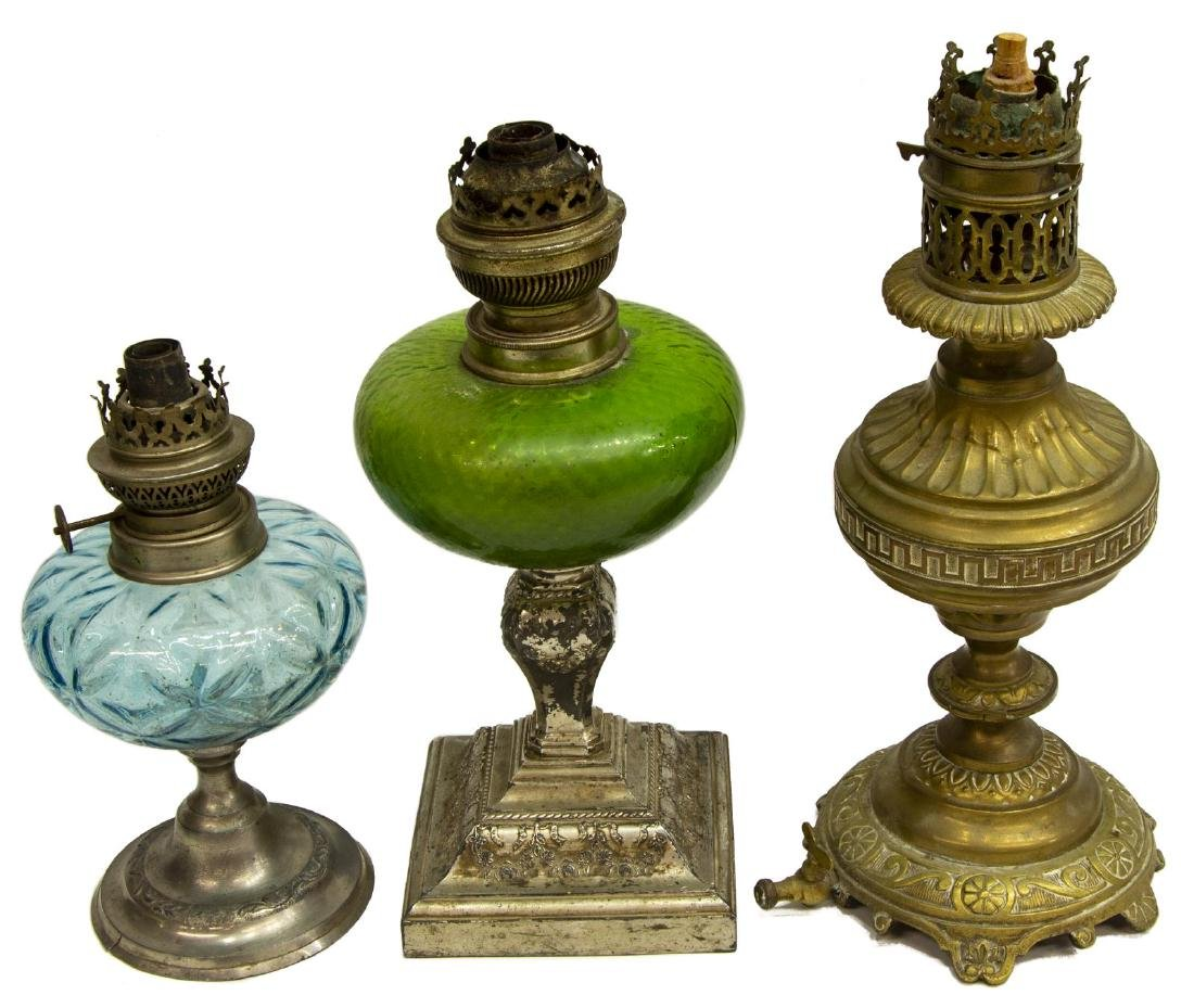 (12) COLLECTION OF ASSORTED ANTIQUE OIL LAMPS - 3
