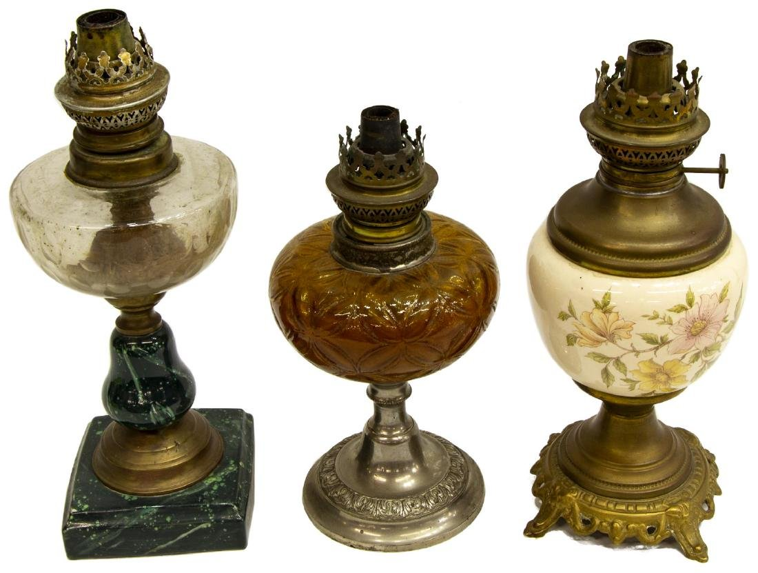 (12) COLLECTION OF ASSORTED ANTIQUE OIL LAMPS - 4