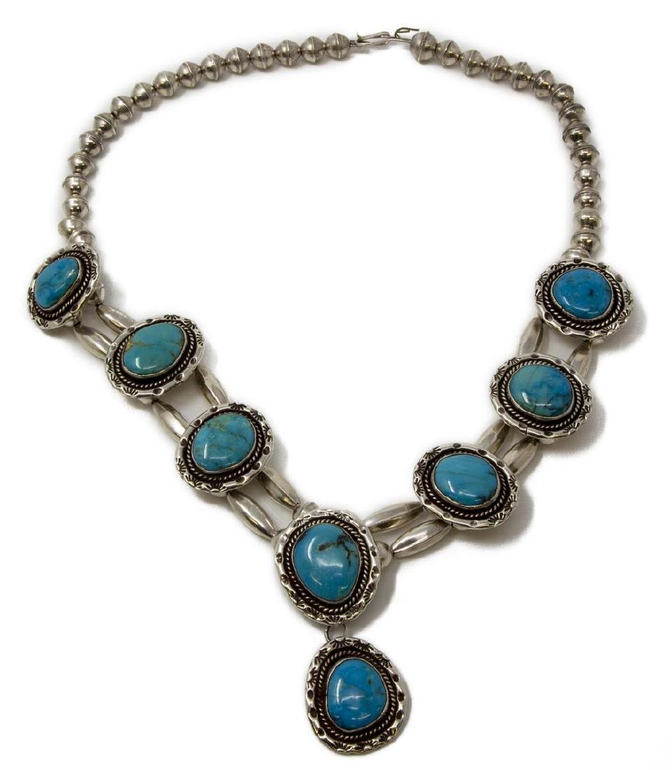 NATIVE AMERICAN SILVER & TURQUOISE NECKLACE