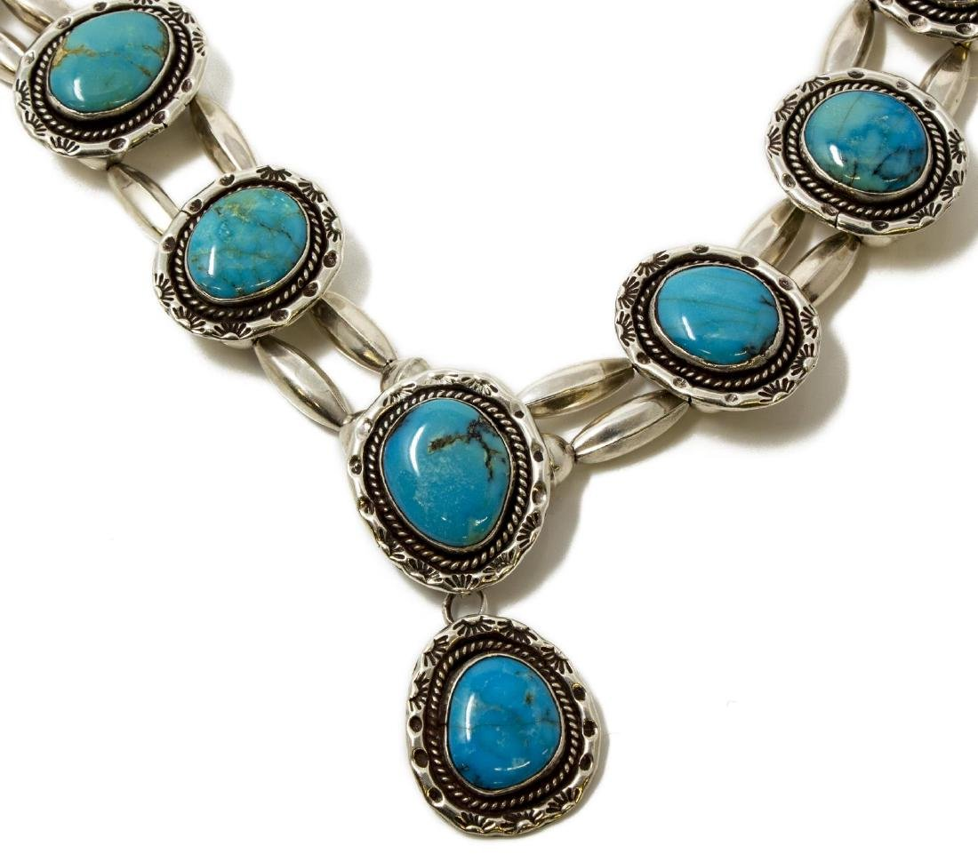 NATIVE AMERICAN SILVER & TURQUOISE NECKLACE - 2
