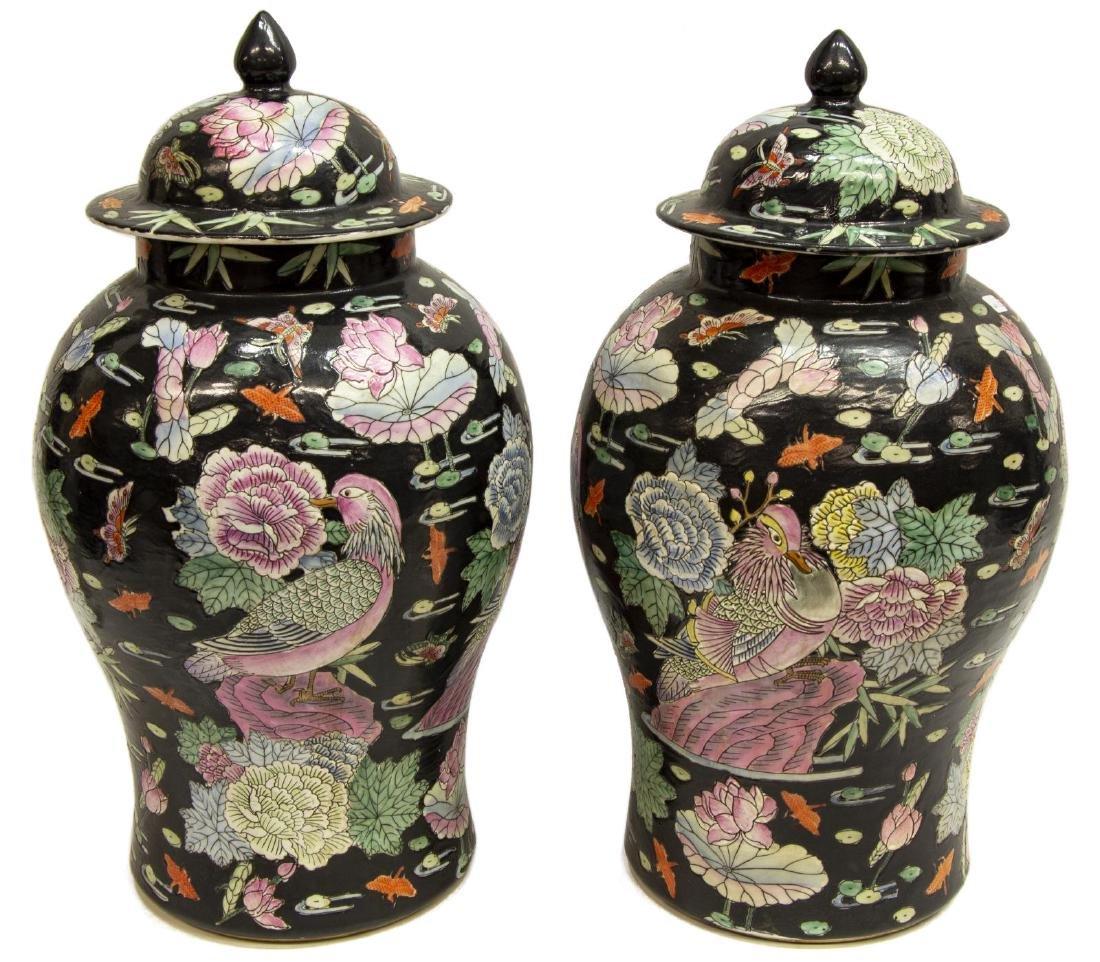 (2) CHINESE FAMILLE NOIR PORCELAIN TEMPLE JARS