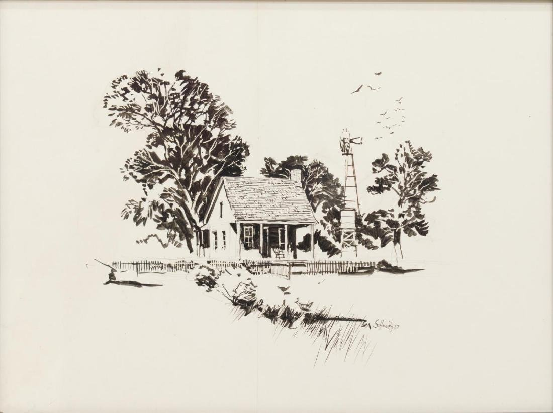 EDWARD MUEGGE 'BUCK' SCHIWETZ (D.1984) INK DRAWING