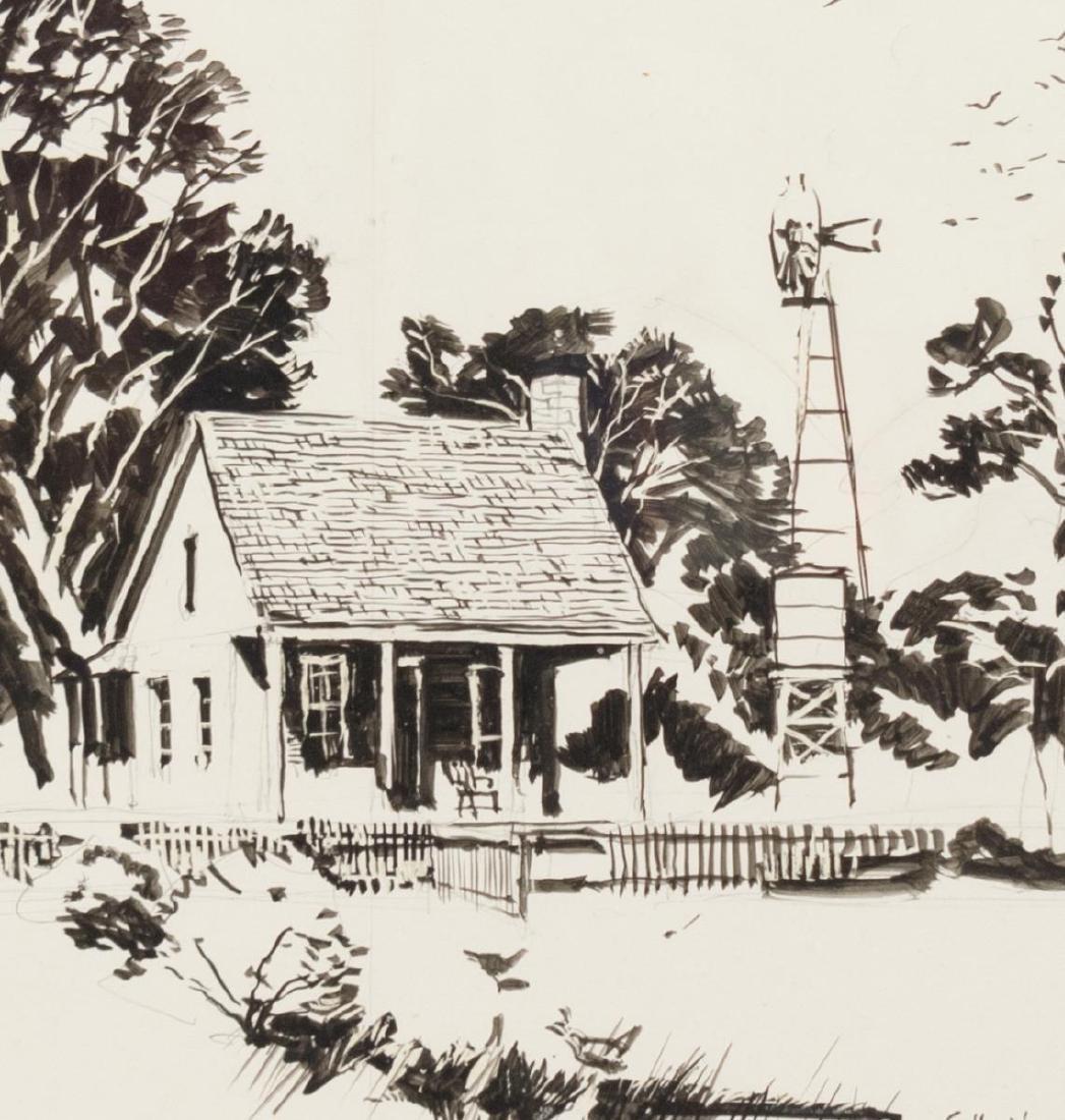 EDWARD MUEGGE 'BUCK' SCHIWETZ (D.1984) INK DRAWING - 3