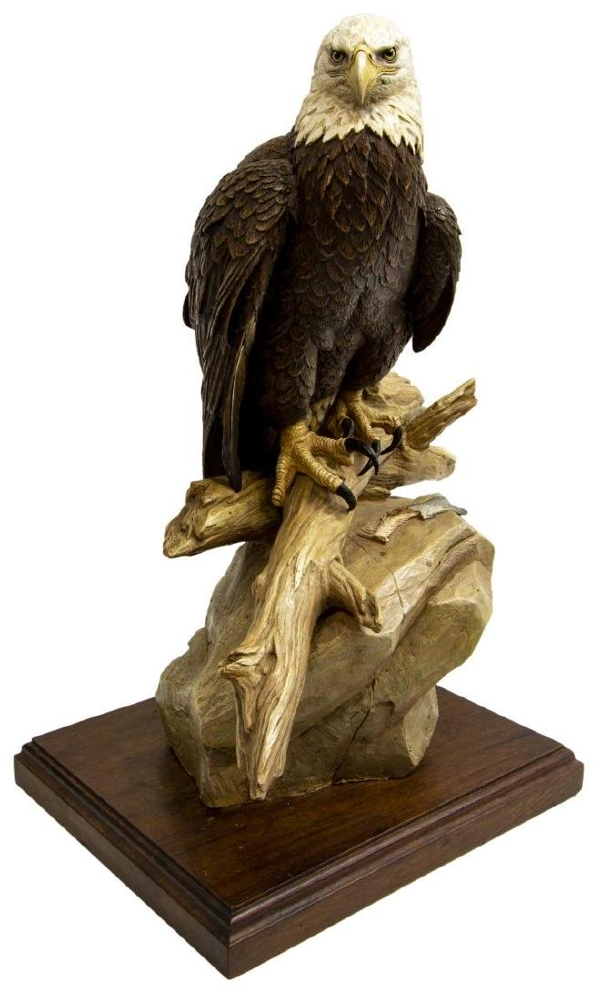 BOB GUELICH (B.1944)  LARGE HAND-PAINTED BRONZE EAGLE