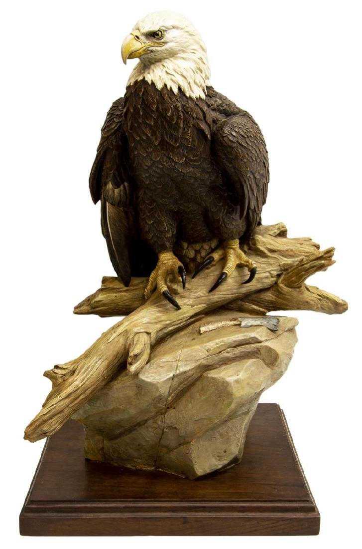BOB GUELICH (B.1944)  LARGE HAND-PAINTED BRONZE EAGLE - 2