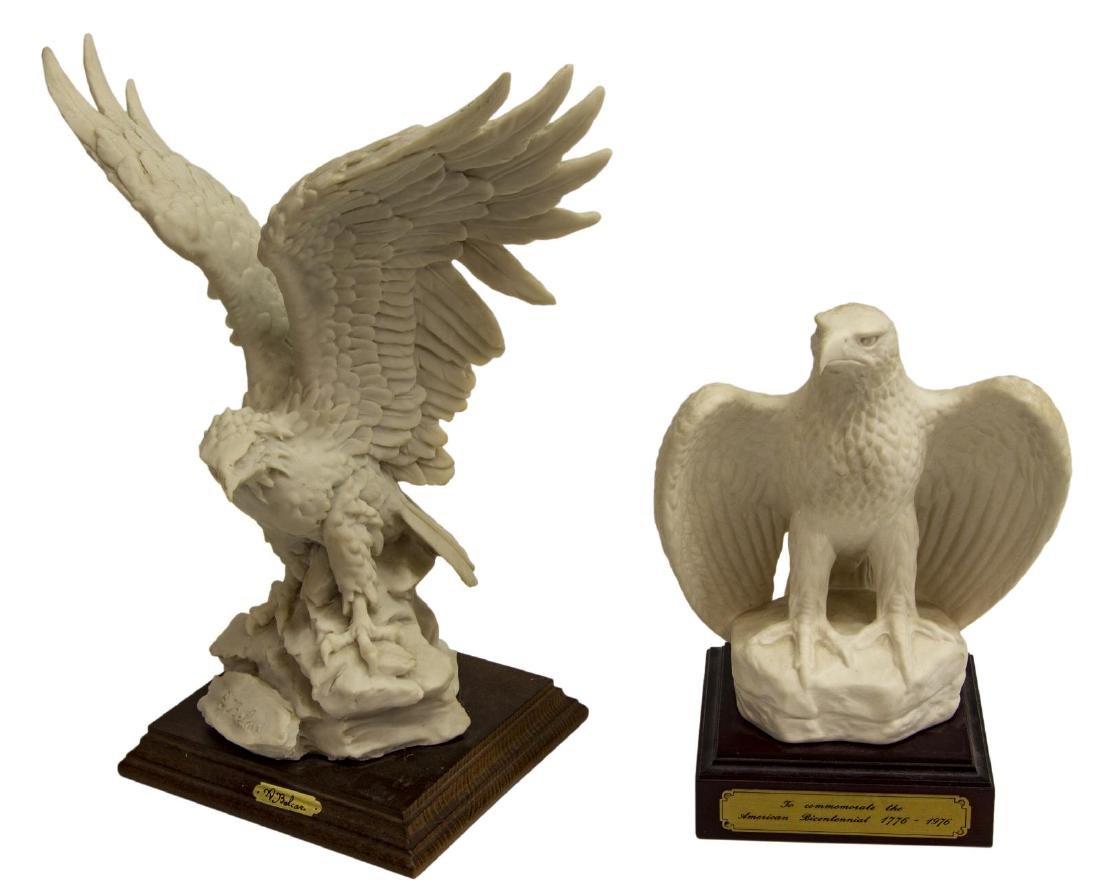(2) BISQUE PORCELAIN EAGLE FIGURES, GOEBEL & DEAR
