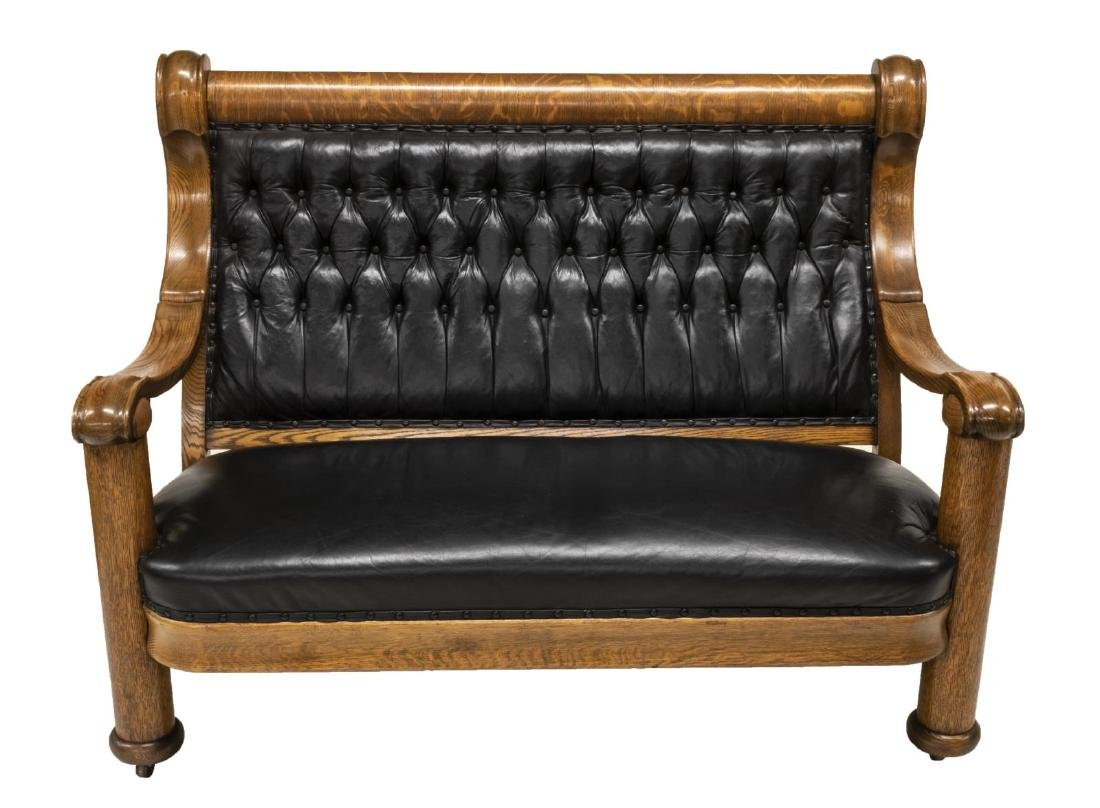AMERICAN OAK FRAMED BUTTON-TUFTED LEATHER SOFA - 2