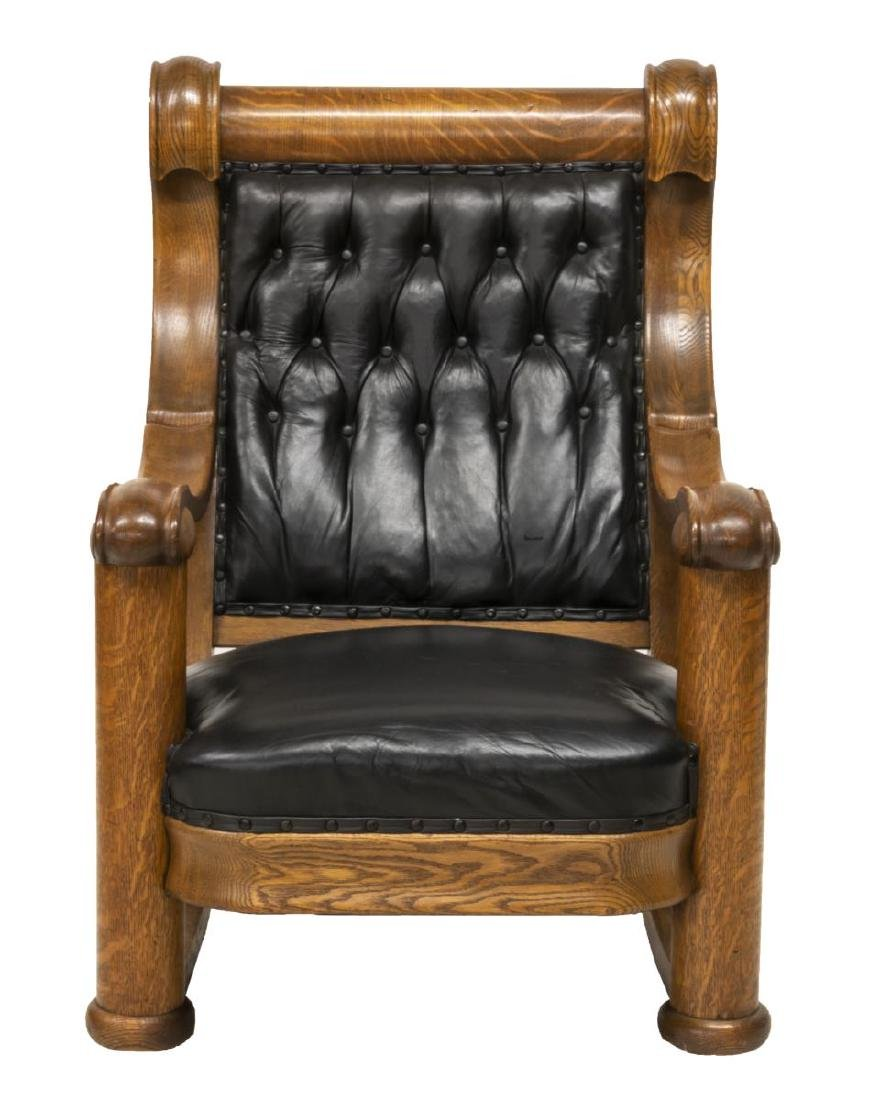 AMERICAN OAK FRAMED BUTTON-TUFTED ROCKING CHAIR - 2
