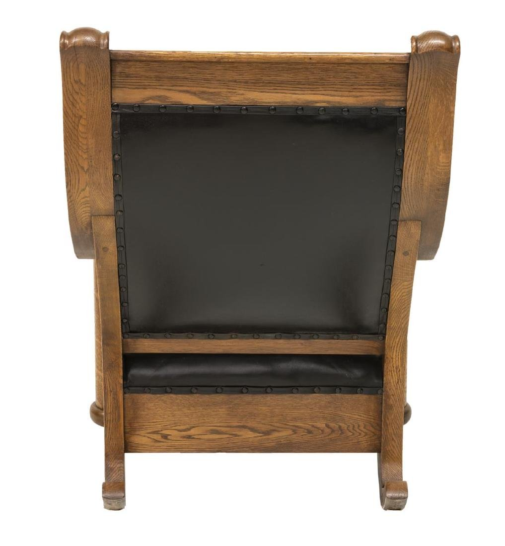 AMERICAN OAK FRAMED BUTTON-TUFTED ROCKING CHAIR - 3