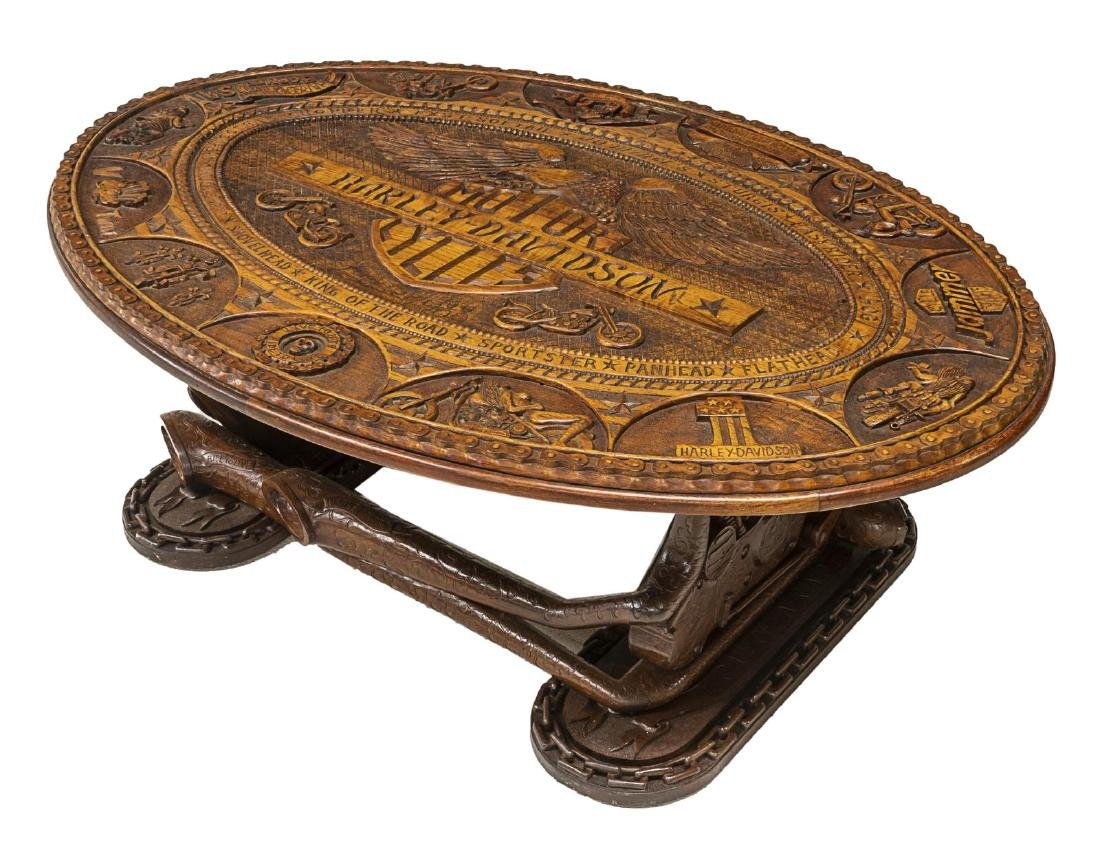 HAND CARVED HARLEY DAVIDSON MOTORCYCLE TABLE