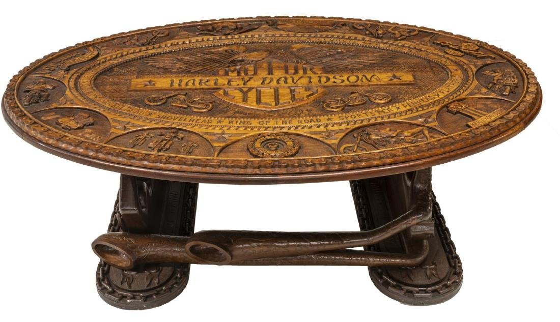 HAND CARVED HARLEY DAVIDSON MOTORCYCLE TABLE - 2