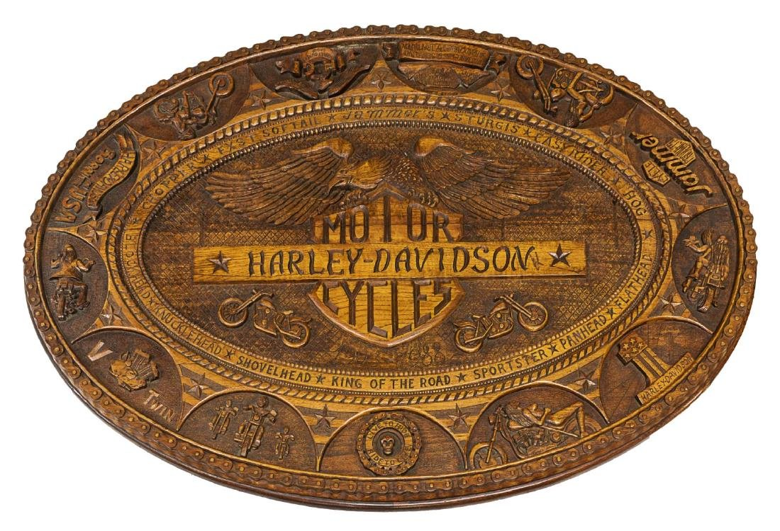 HAND CARVED HARLEY DAVIDSON MOTORCYCLE TABLE - 3