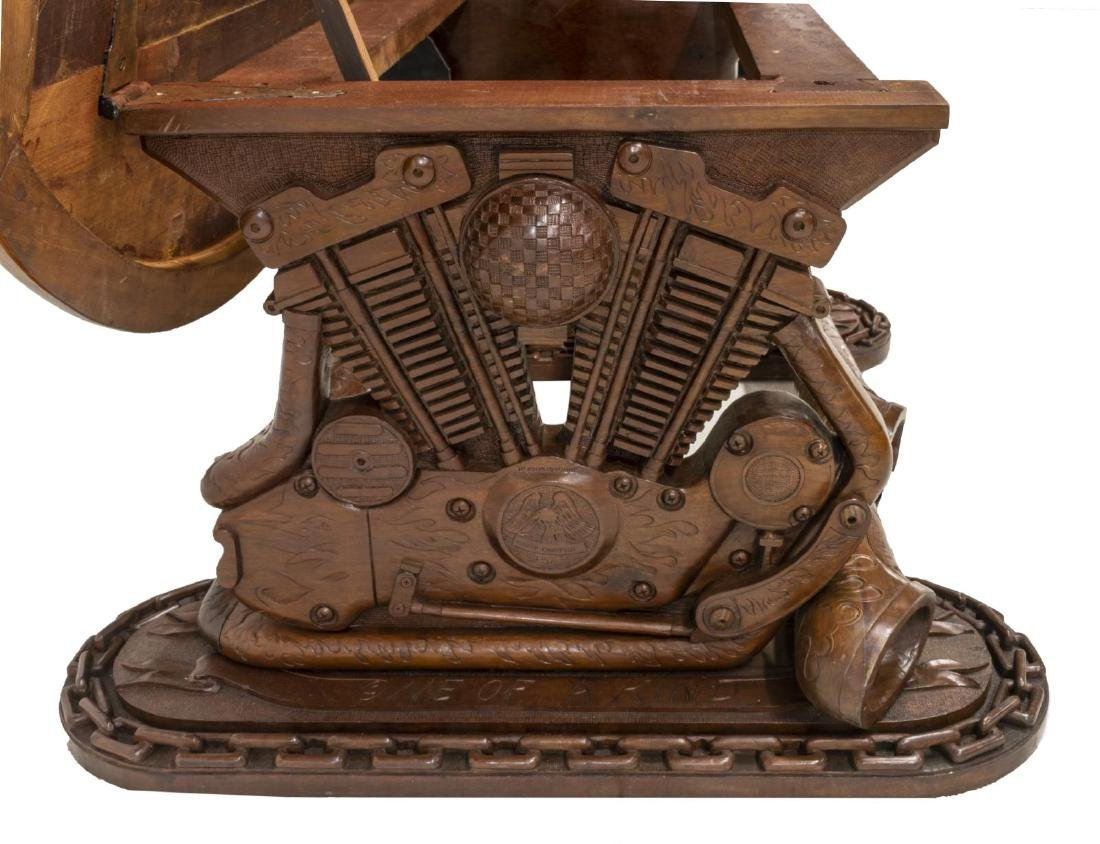 HAND CARVED HARLEY DAVIDSON MOTORCYCLE TABLE - 6