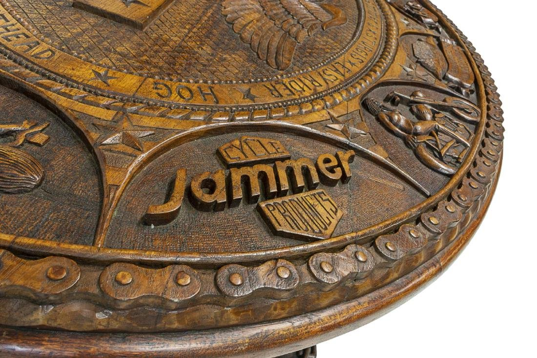 HAND CARVED HARLEY DAVIDSON MOTORCYCLE TABLE - 7