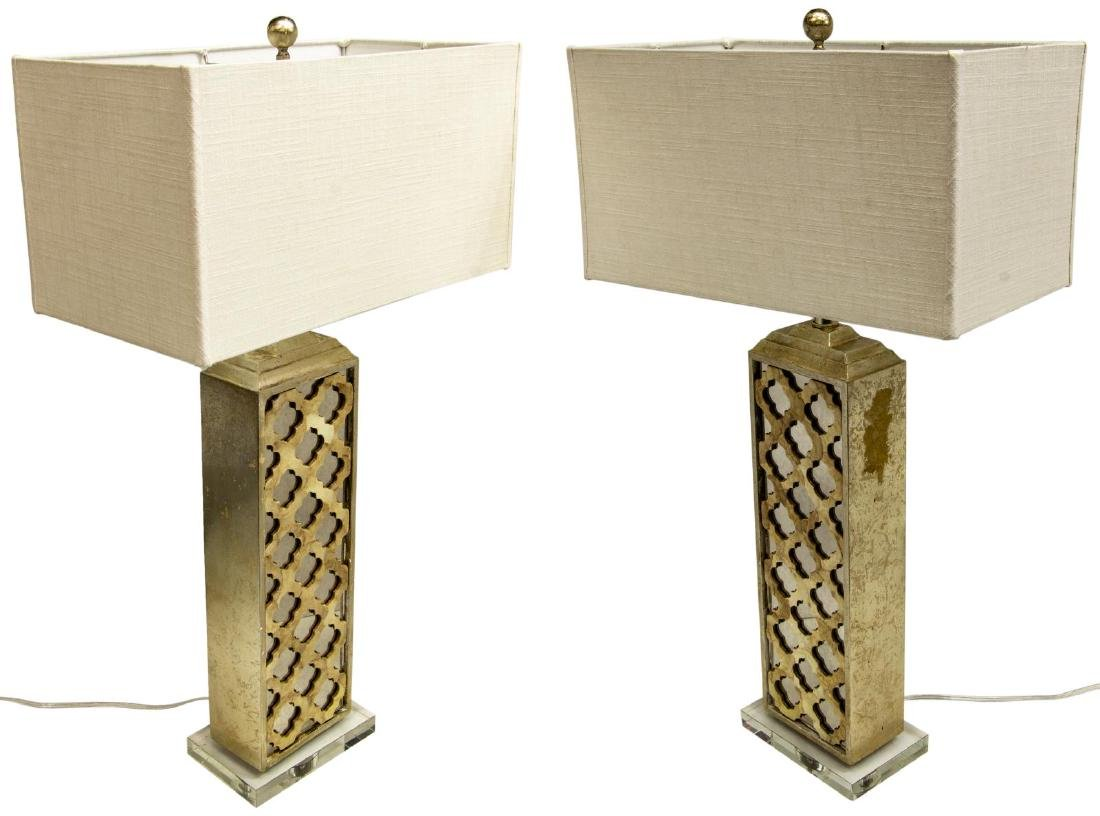 (2) MODERN MIRRORED & LUCITE GILT TABLE LAMPS
