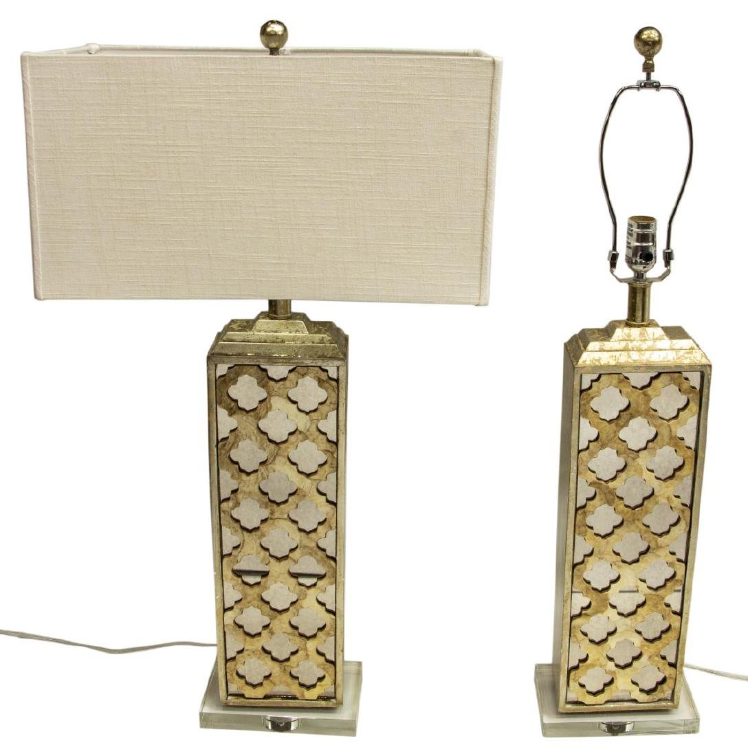 (2) MODERN MIRRORED & LUCITE GILT TABLE LAMPS - 3