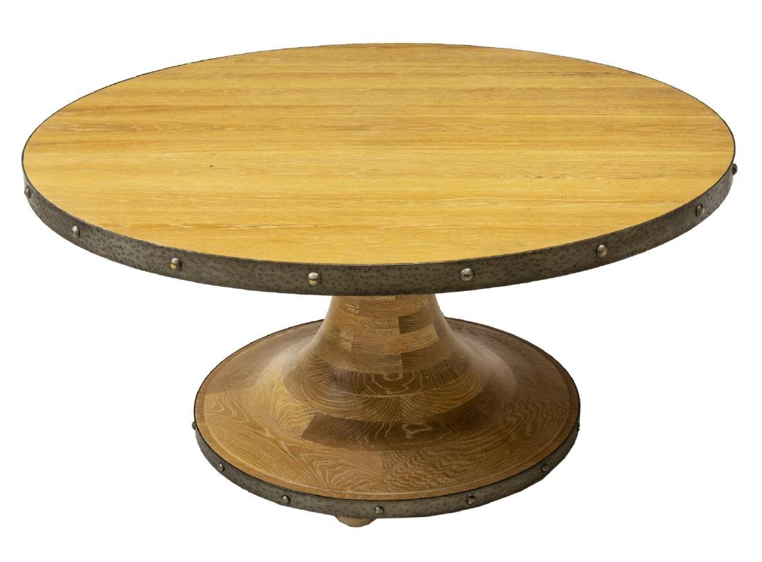 LARGE IRON BANDED CIRCULAR LIGHT OAK DINING TABLE