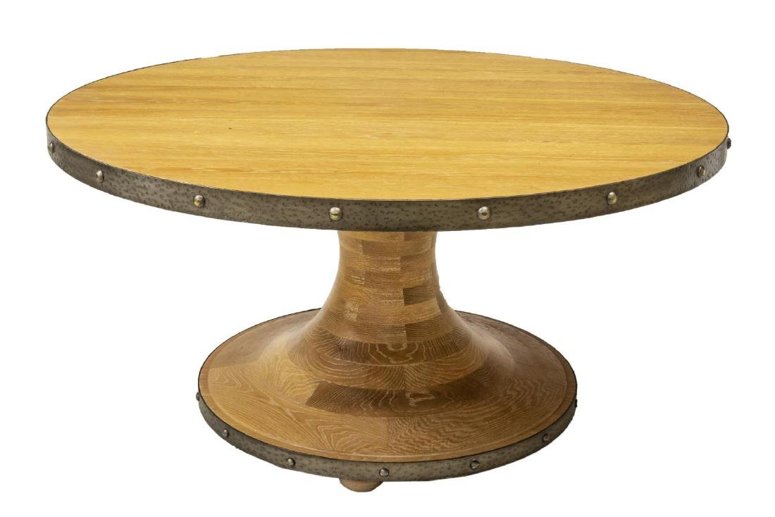LARGE IRON BANDED CIRCULAR LIGHT OAK DINING TABLE - 2