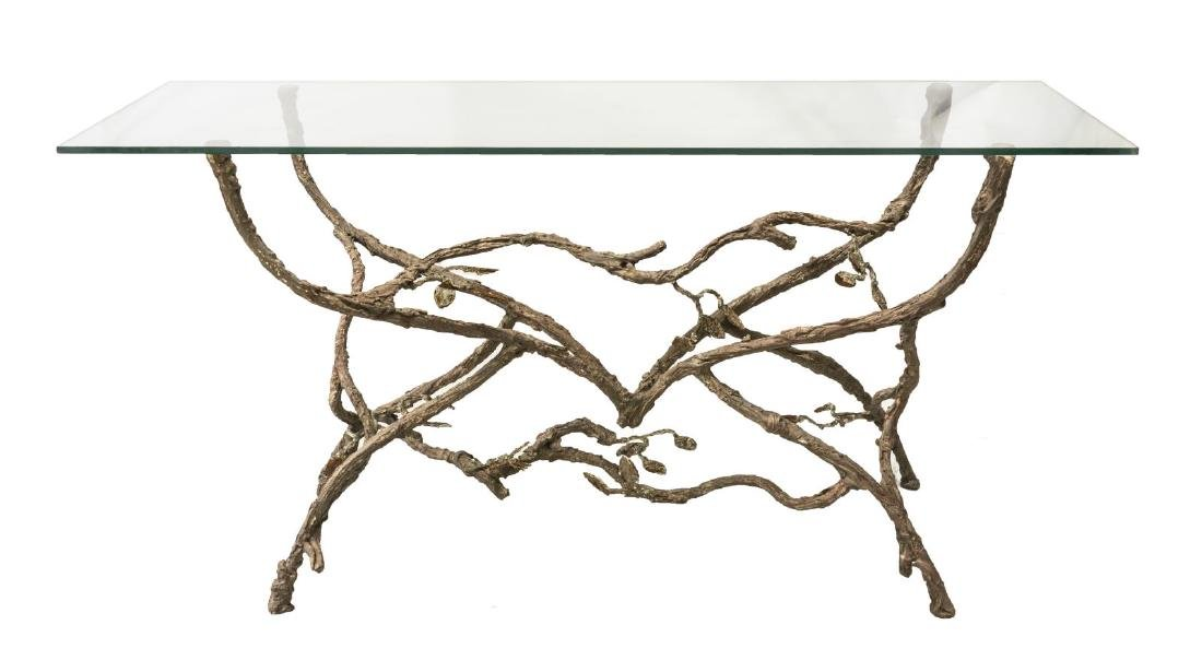 CONTEMPORARY TWIG FORM GLASS-TOP CONSOLE TABLE