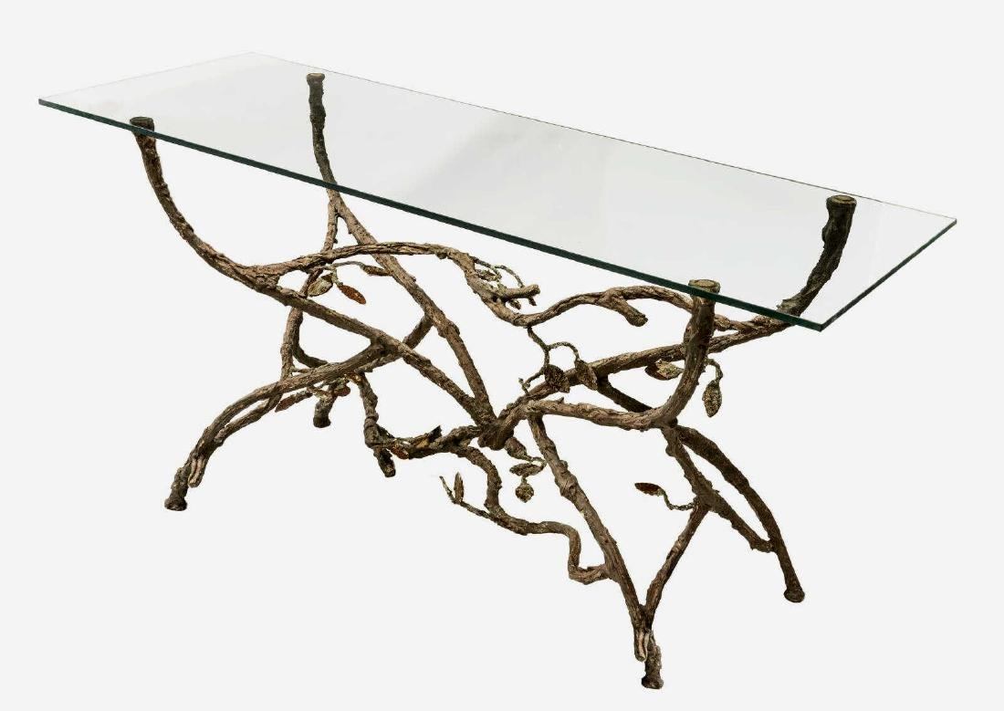 CONTEMPORARY TWIG FORM GLASS-TOP CONSOLE TABLE - 2