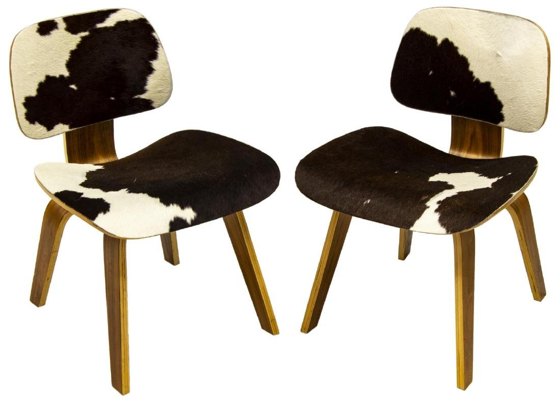 (2) HERMAN MILLER LCW STYLE COWHIDE LOUNGE CHAIRS