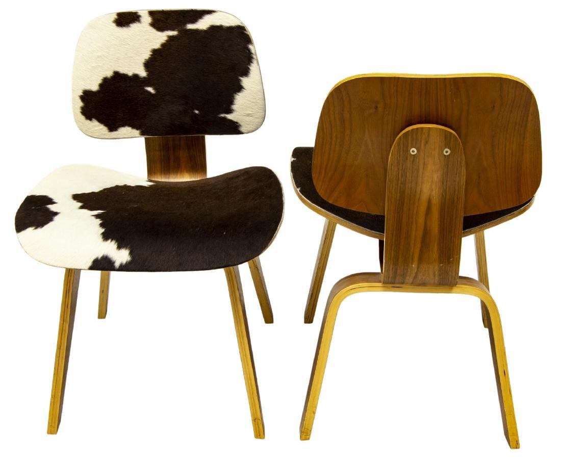 (2) HERMAN MILLER LCW STYLE COWHIDE LOUNGE CHAIRS - 2