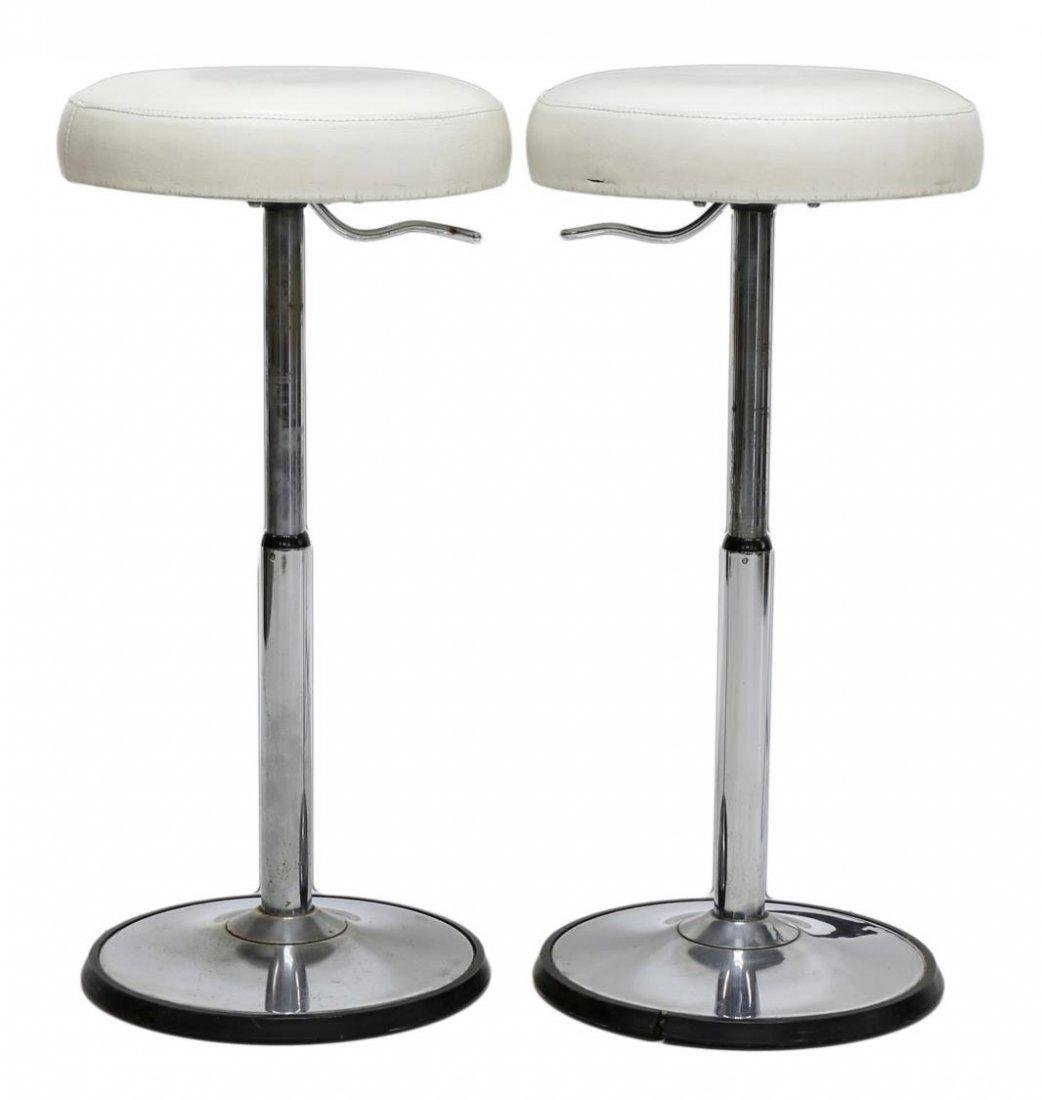 (2) FRENCH MODERN TELESCOPING BAR STOOLS