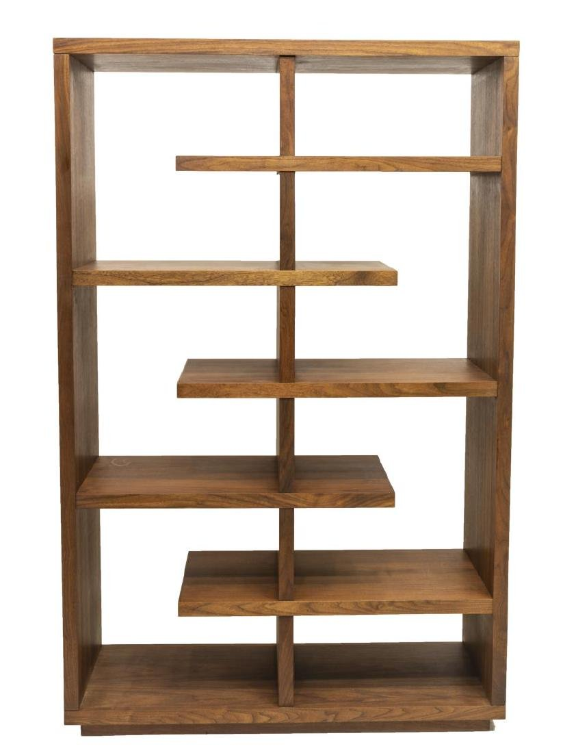 MODERN WALNUT FIVE TIER BOOKSHELF / DISPLAY - 2