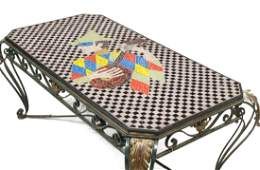 FRENCH MODERN TILED MOSAIC & IRON COFFEE TABLE
