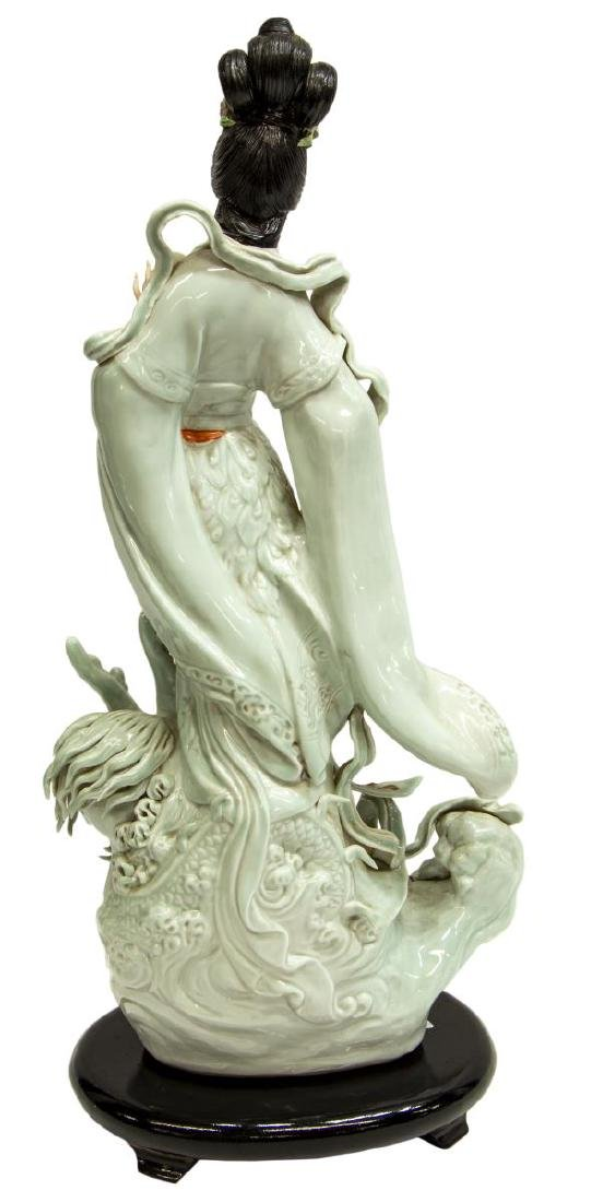 CHINESE CELADON PORCELAIN FIGURE OF GUANYIN - 2
