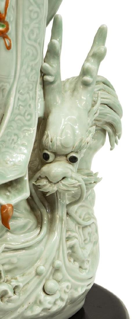 CHINESE CELADON PORCELAIN FIGURE OF GUANYIN - 3