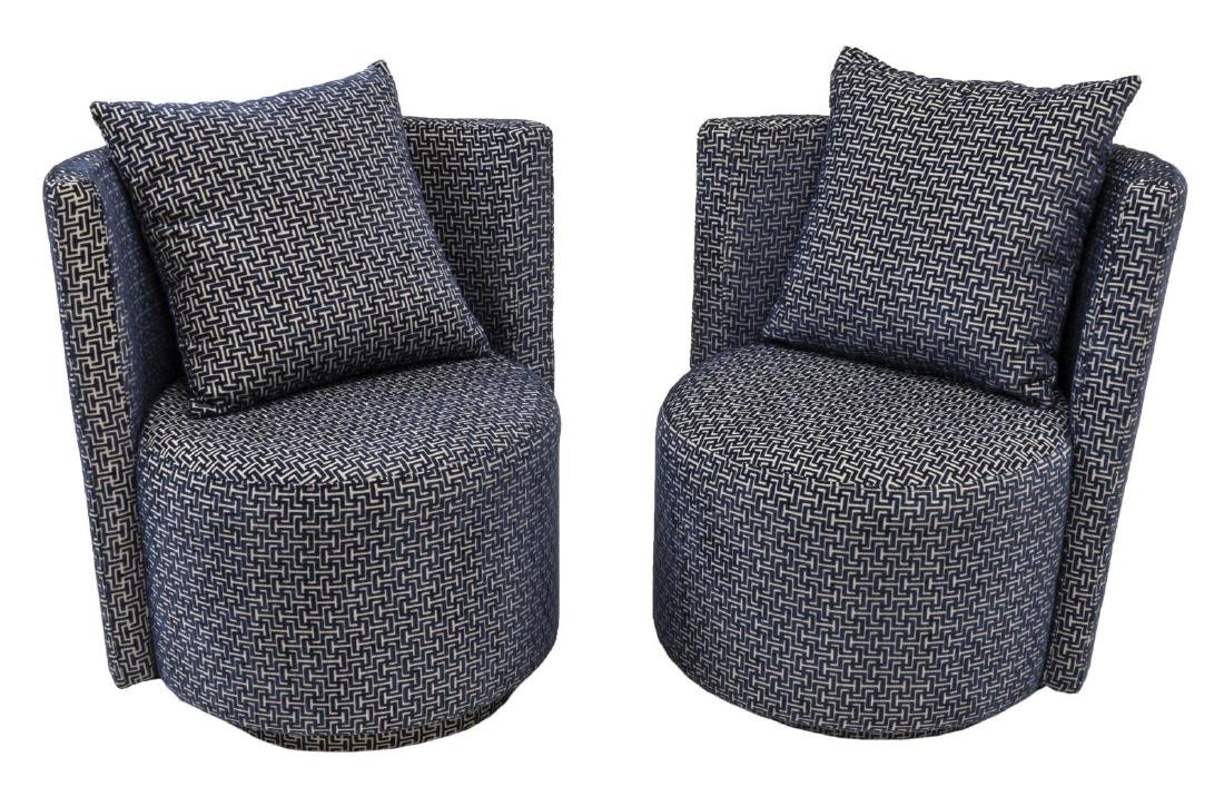 (2) CONTEMPORARY UPHOLSTERED SWIVEL CLUB CHAIRS