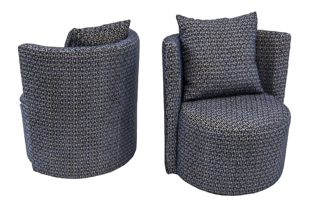 (2) CONTEMPORARY UPHOLSTERED SWIVEL CLUB CHAIRS - 2