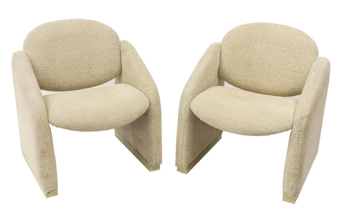 (2) CONTEMPORARY CRESCENT-BACK  CLUB CHAIRS