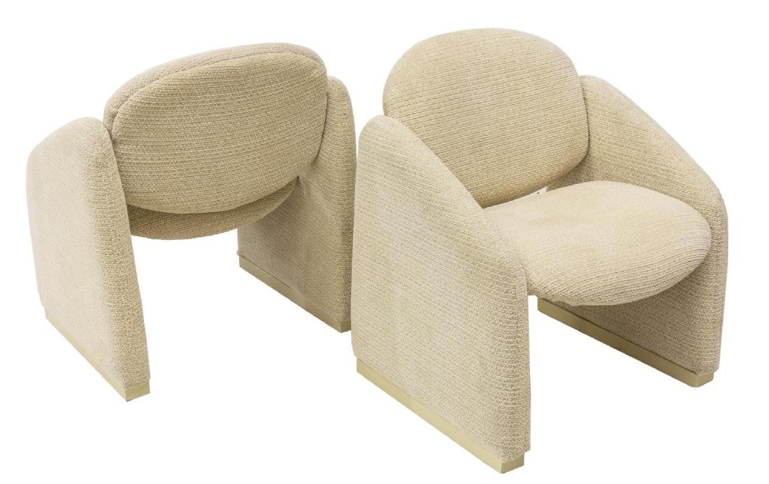 (2) CONTEMPORARY CRESCENT-BACK  CLUB CHAIRS - 2