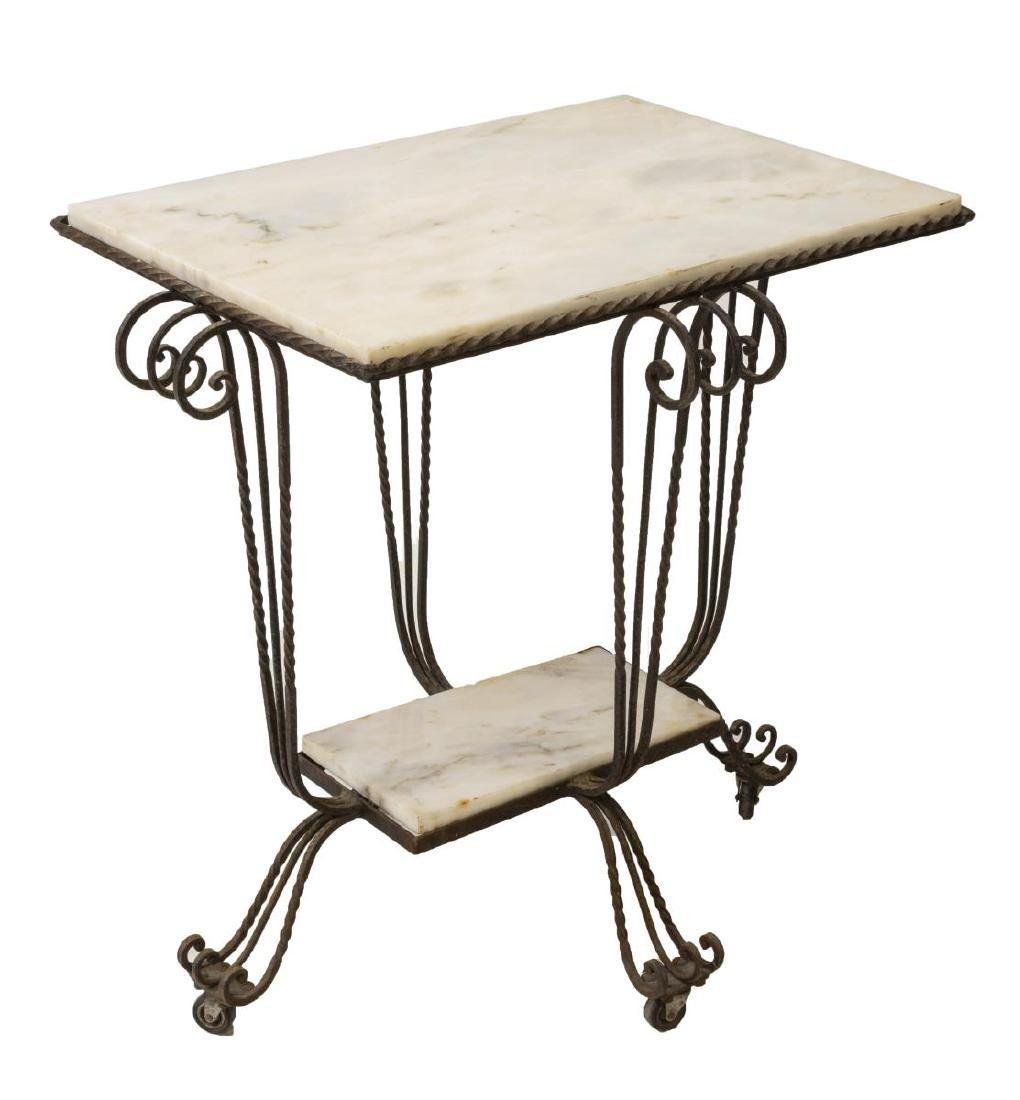 FRENCH MARBLE TOP SCROLLED WROUGHT IRON TABLE