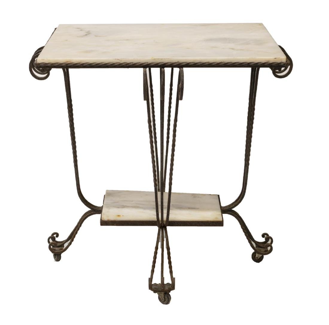 FRENCH MARBLE TOP SCROLLED WROUGHT IRON TABLE - 2