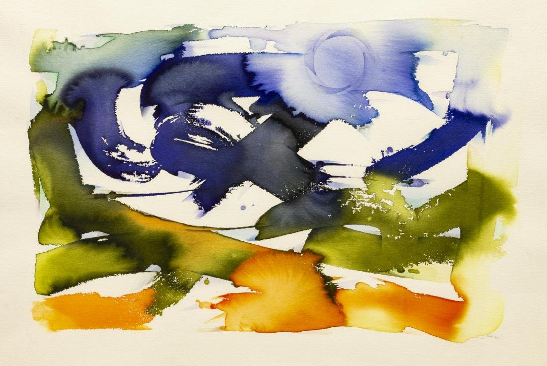 JOHN O'NEIL (D.2004) ABSTRACT WATERCOLOR PAINTING
