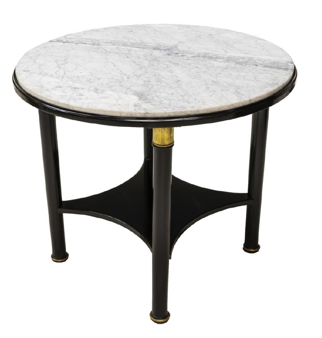 MAISON JANSEN (ATTRIB.) MARBLE-TOP EBONIZED TABLE