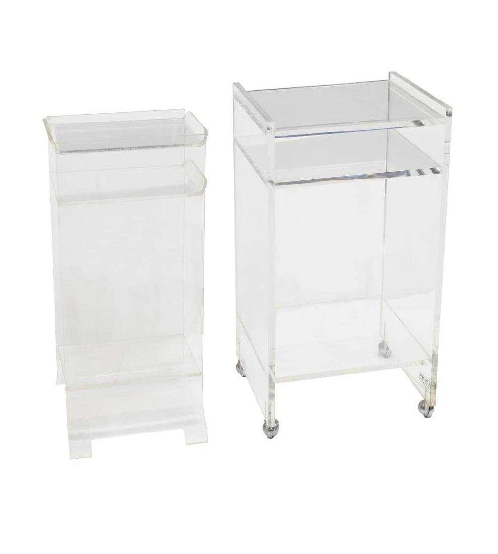 (2) MODERN LUCITE STANDS, ONE WITH AKKO STICKER